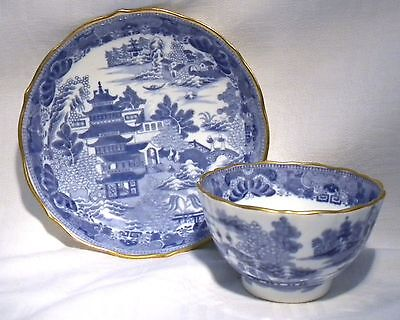 Caughley Blue & White  Two Temples Tea Bowl & Saucer C. 1790