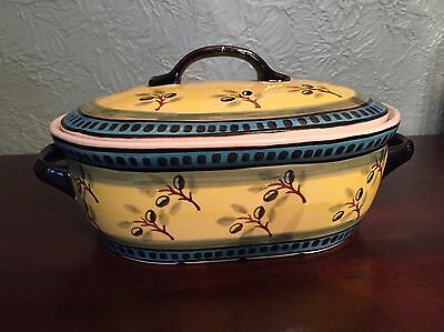 Polish Pottery Covered Casserole Baker Yellow Blue Olive