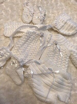 "New: Pretty Hand Knitted 5 Piece Matinee Outfit  For 22""-23"" Reborn Baby Girl"