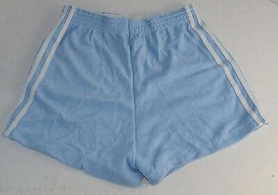 Vtg 1970's Blue SHORT GYM RUNNING SHORTS 3 Stripe Soft Terry Fabric MEDIUM