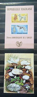 Two Mini Sheets From Togo - Animals And Mushrooms (See Scan)