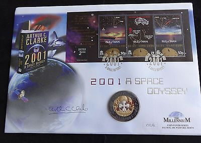 2001 Gibraltar Tri-Colour Proof 1 Crown Coin Pnc Space Odyssey Signed A Clarke