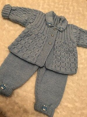 New : Hand Knitted 0-3mth Set For A Baby Boy
