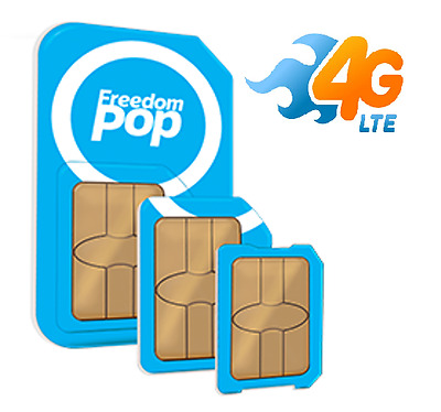 FreedomPop 3-in-1 Pre-activated 4G LTE SIM Card 700Mb/Month Free Service