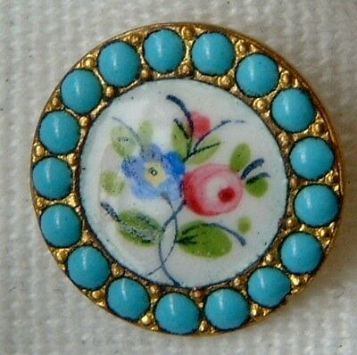 Porcelain & Torquoise Unusual Small Button
