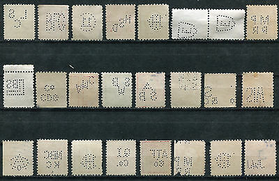 s23 - LOT of (24) Old USA Perfin Stamps