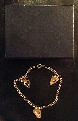 Small Harp Charm Bracelet  With 3 Harp Charms With Box