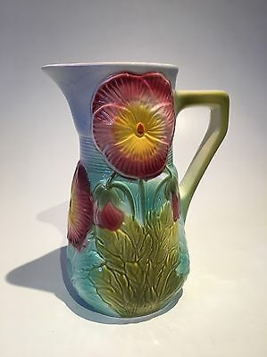 RARE-St. Clement Majolica Pitcher-French-Hand Painted Pansies