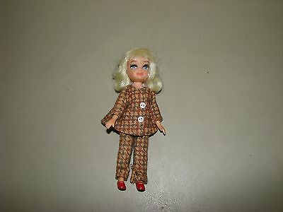 Vtg Uneeda 1967 Tiny Teen doll Sports Time brown tweed suit red shoes