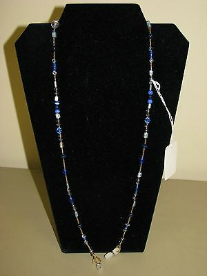 Beaded Eyeglass Chain Holder Blue and Clear glass beads handmade