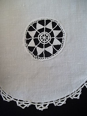 "Antique 1800's Linen Towel Drawnwork 8 point star 18 x 28"" Vintage White"