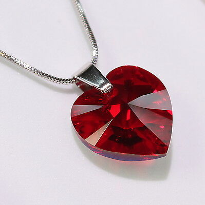 Red Heart Swarovski Elements Necklace Crystal Pendant Women Gifts Ladies .