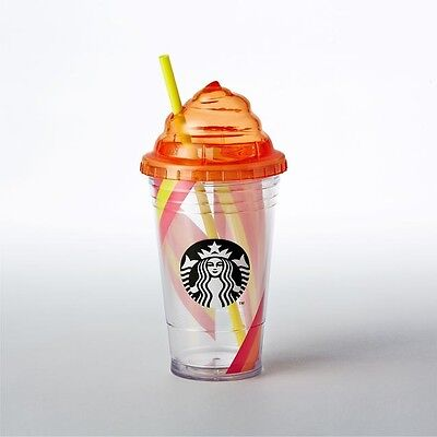 Starbucks Whipped Top Frappuccino Cold Cup Orange Pink Stripe 16 fl oz