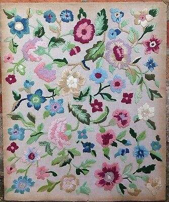Vintage Tapestry Hand-Embroidered Panel 1930s  Florals