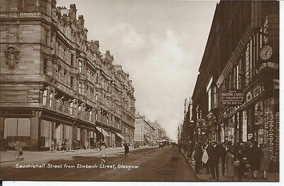 GLASGOW Early RP Postcard Sauchiehall Street from Elmbank Street RP Shops Trams