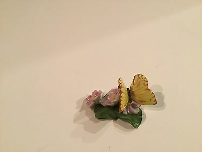 Herend Butterfly with Flowers on Leaf Figurine Natural Color 9315