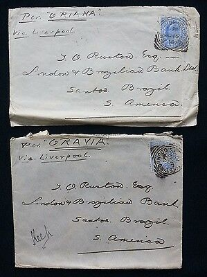 2 1910 SHIP COVERS PACIFIC STEAM NAVIGATION Co. ORAVIA & ORIANA UK TO BRAZIL