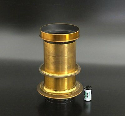 HUGE!! Antique Brass Petzval 380mm F5 with Soft Focus control 8x10 wet plate
