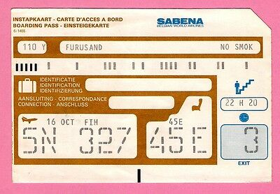Old Airline Boarding Pass - Sabena - Belgian World Airlines - 1980s