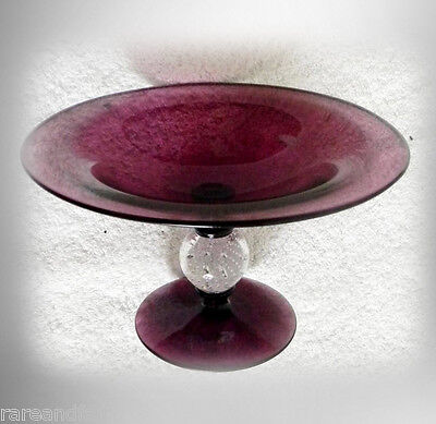 Pairpoint art glass compote in amethyst color - control bubble - FREE SHIPPING
