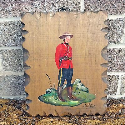 Hand Painted Canadian Mountie On Wood - Royal Canadian Mounted Policeman Picture