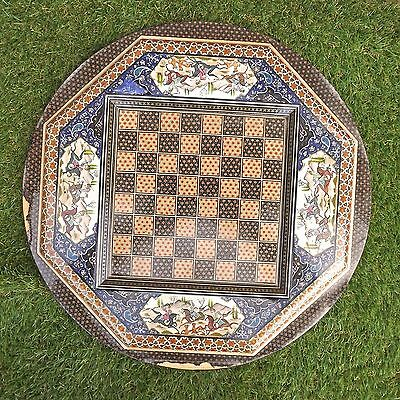 Vintage Octagonal Persian Khatam Style Inlaid Chess Board - Needs Attention