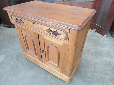 Antique White Ash and Walnut Commode with Carved Pulls