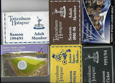 Collection of 6 Tottenham Season Tickets - Listed