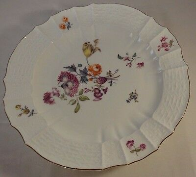 """Antique Meissen 9.5"""" Scalloped Embossed Floral Hand Painted Gilt Edged Plate VGC"""