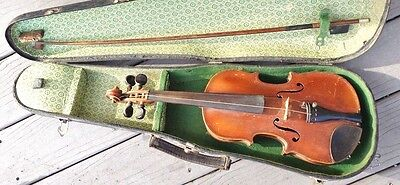 antique child size Paganini violin in case with Hoyer bow playable
