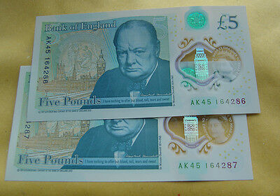 2 x new £5 note  -- sequential serial numbers.