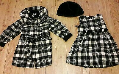 Girls  river oak check dress and matching  coat set age 3 yrs.