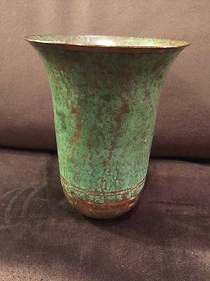 Beautiful Vintage Carl Sorenson Bronze Patinated Gold & Green Vase Signed