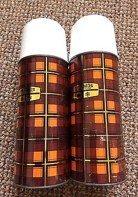 Fabulous Pair Of Original Vintage Thermos Tartan Flasks