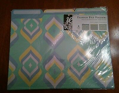 fashion file folders - 3 designs, teal, yellow, and green - 6 in the package
