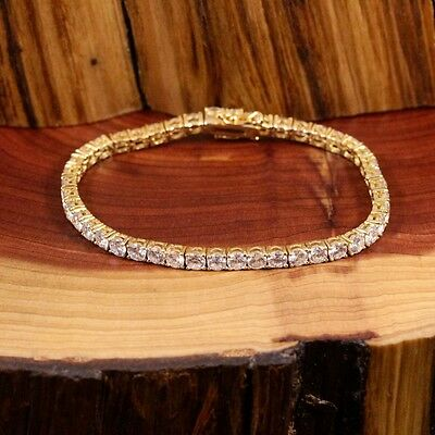Ladies Beautiful 18Ct Gold Over .925 Silver & Czs  7 Inch Tennis Bracelet.