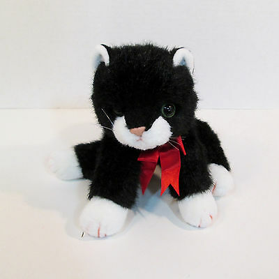 "10"" Ty Classic Plush Black & White Boots the Kitty Cat w/ Red Bow- Stuffed 3+"