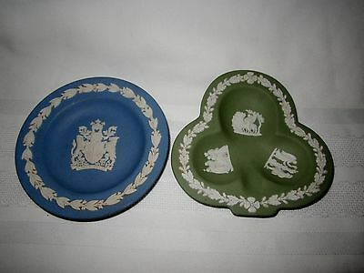Wedgwood two Jasperware small dishes blue & green - perfect