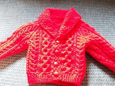 Hand Knitted Red Aran Cardigan 6mths NEW