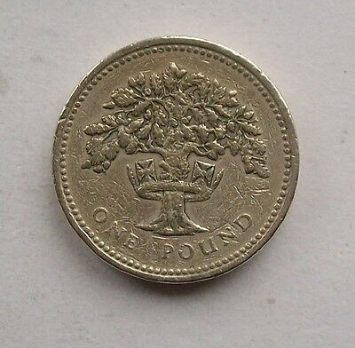 British 1987, Oak Tree In Coronet One Pound, £1 Coin. England.