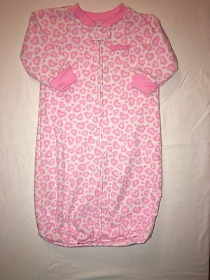 Child of Mine by Carter's Girl Pink Hearts Fleece Sleep Sack Size 0-9 Months