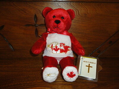"""Holy Bears 2001 GOD BLESS CANADA Bear 9"""" with Mint Bible Booklet RETIRED"""
