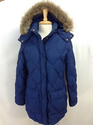 LANDS END Women's Down Insulated Quilted Parka Coat Jacket Blue M