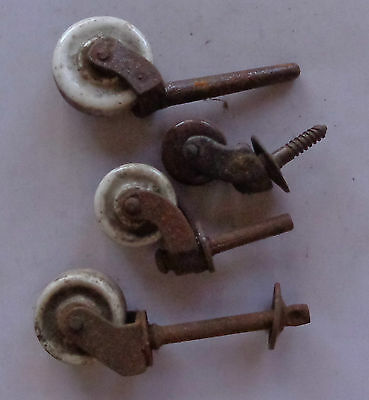 Lot 4 Antique Vintage Victorian Porcelain Ceramic Wheel Casters Brown White