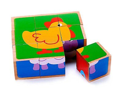 Wooden Farm Animal Cube Block Puzzle for Kids | 5 Puzzles in One | Educational 2