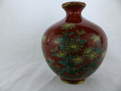 antique meiji period cloisonne 4.5 inch vase floral motif with brown background.