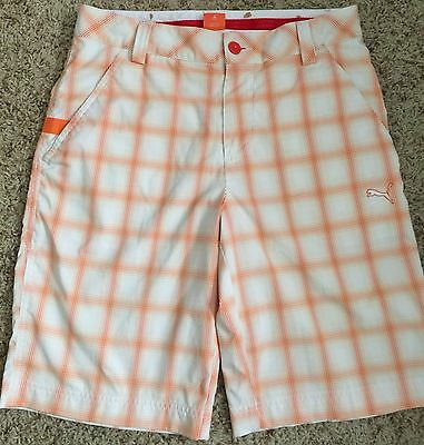 oakley stanley shorts x9ow  Men's Puma Sport Lifestyle Golf Shorts White & Orange Plaid
