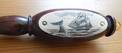 Great gift for the sailor! Genuine whale scrimshaw scene on letter opener!