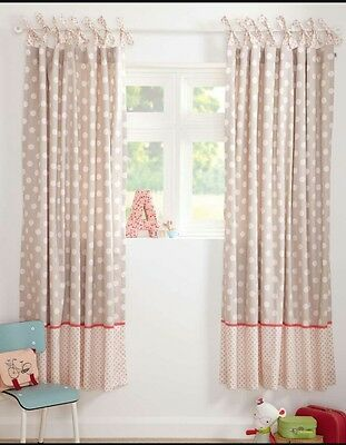 BNWT MAMAS AND PAPAS PIXIE AND FINCH GIRLS SPOT CURTAINS SIZE 132 x 160