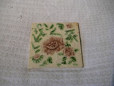 Antique Victorian Relief Moulded Fireplace Tile - Pink & Green Floral Design